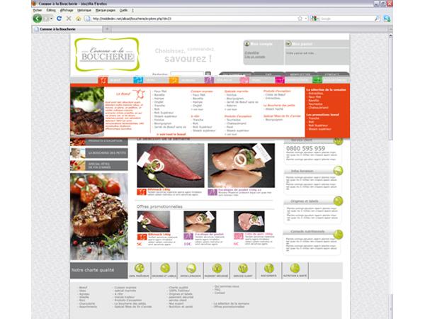 Page d'accueil avec menu déroulant