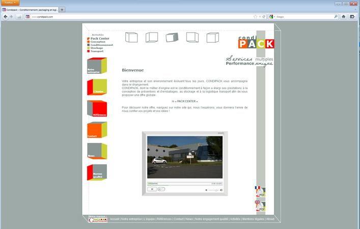 Site internet : Page d'accueil