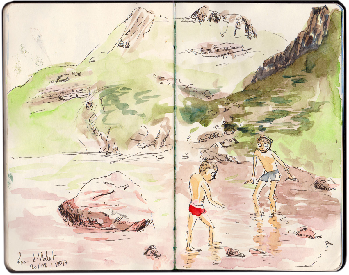 Baignade et pêche au triton dans le lac d'Arlet